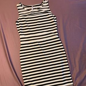 Black and white striped mesh dress